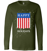 Happy Holidays USA Shield / Unisex Long-sleeve Tee
