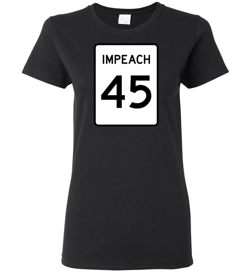 Impeach 45 Highway Sign / Women's Semi-fitted Tee