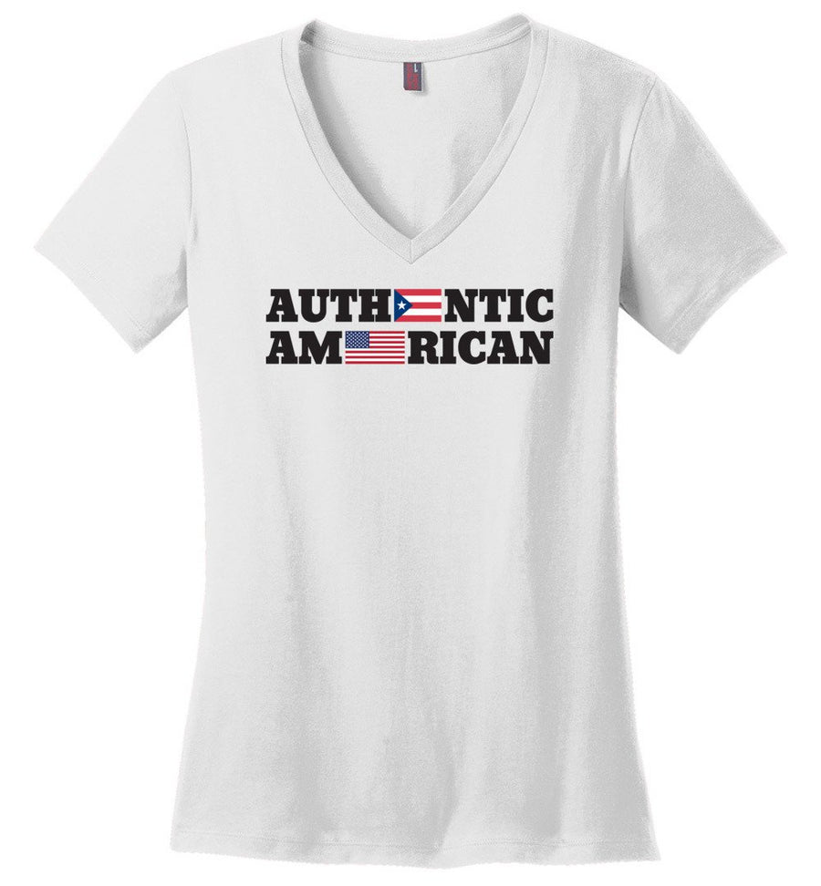 Authentic Puerto Rican American / Women's V-neck Tee