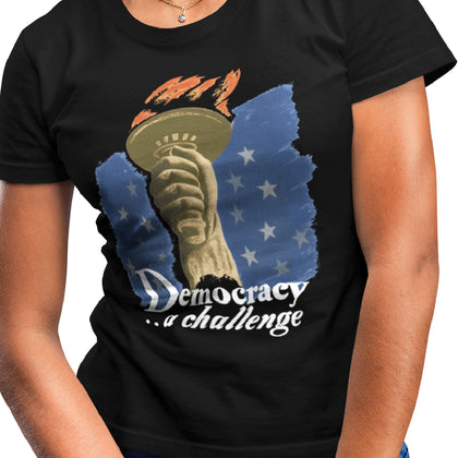 Democracy A Challenge: WPA Poster / Women's V-neck Tee