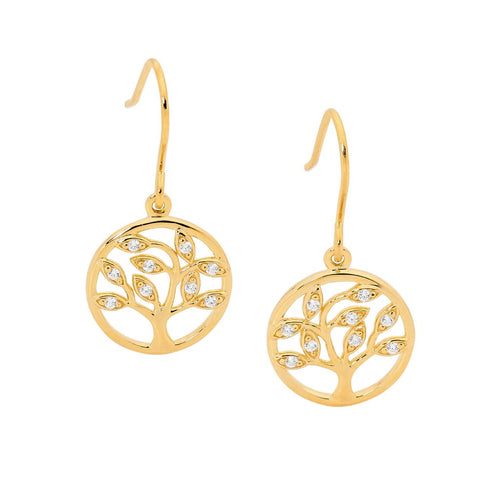 Sterling Silver Tree Of Life Earrings with Gold Plating & Cubic Zirconia