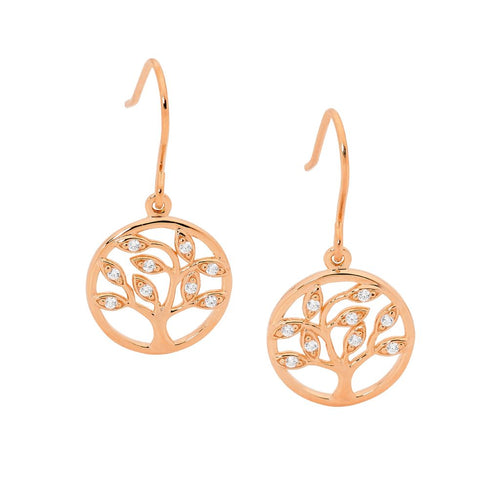 Sterling Silver Tree Of Life Earrings with Rose Gold Plate & Cubic Zirconia