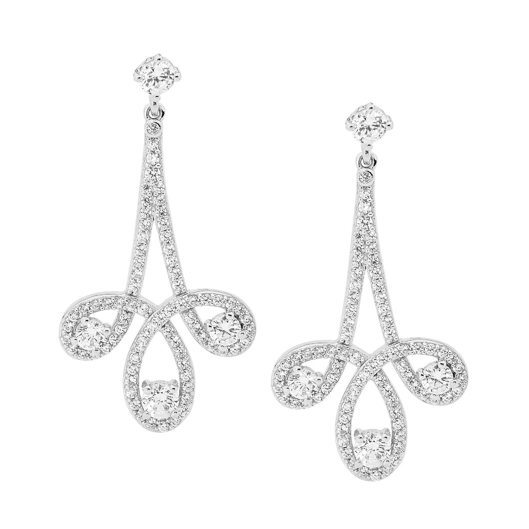Sterling Silver Chandelier Earrings with Cubic Zirconia