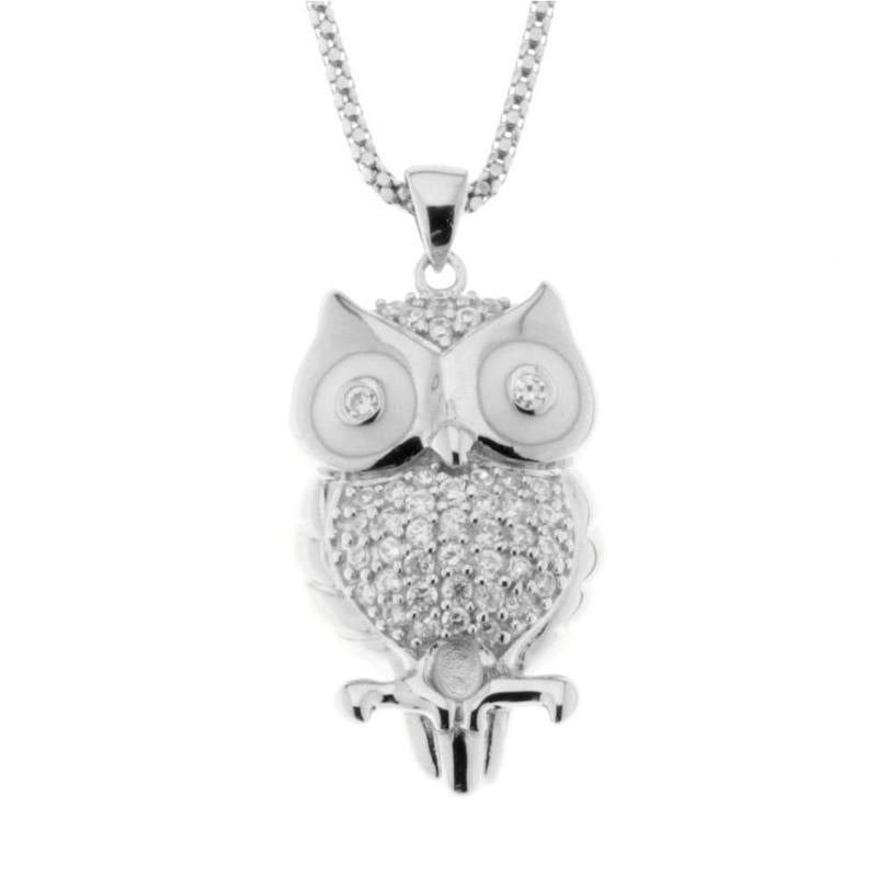 Sterling Silver Owl Pendant with Cubic Zirconia