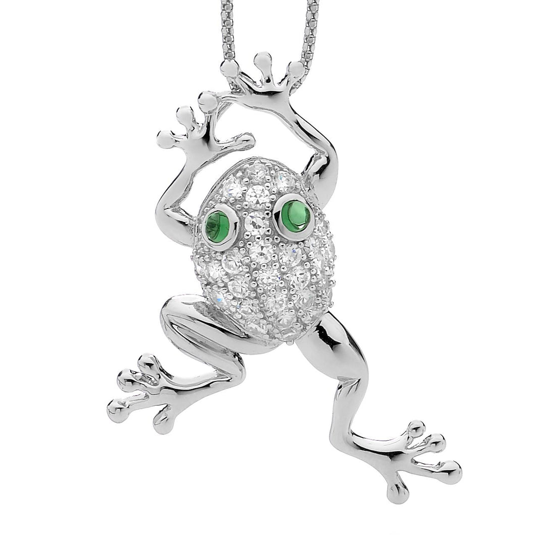 Sterling Silver Frog Pendant with Cubic Zirconia