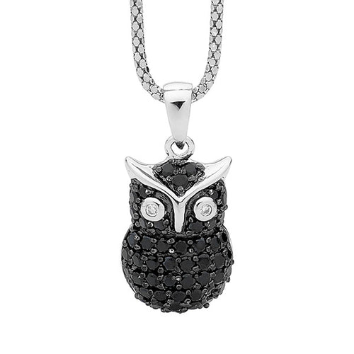 Sterling Silver Owl Pendant with Black Cubic Zirconia