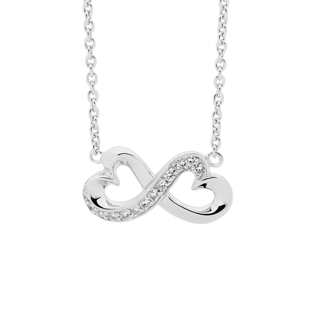 Sterling Silver Double Heart Infinity Necklace with Cubic Zirconia
