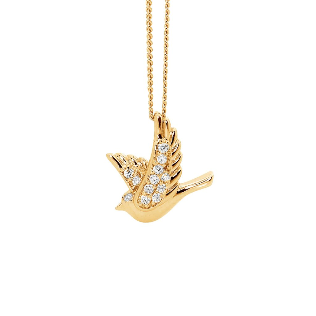 Sterling Silver & Gold Plated Dove Pendant with Cubic Zirconia