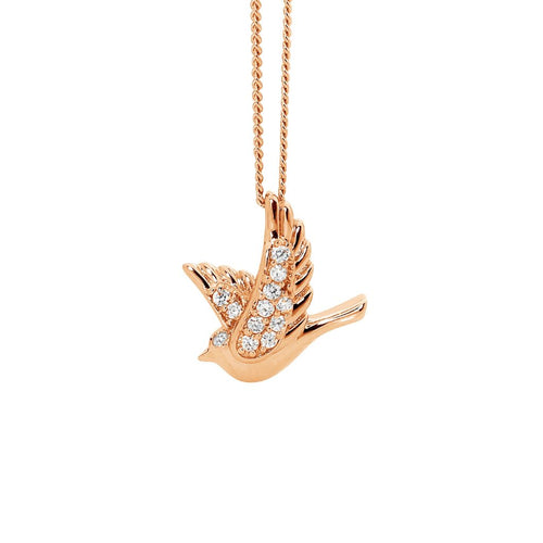 Sterling Silver & Rose Gold Plated Dove Pendant with Cubic Zirconia