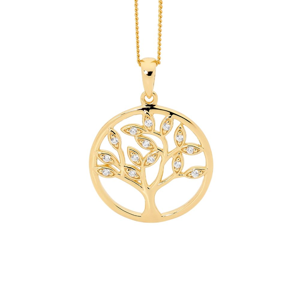 Sterling Silver Gold Plated Tree Of Life Pendant with Cubic Zirconia