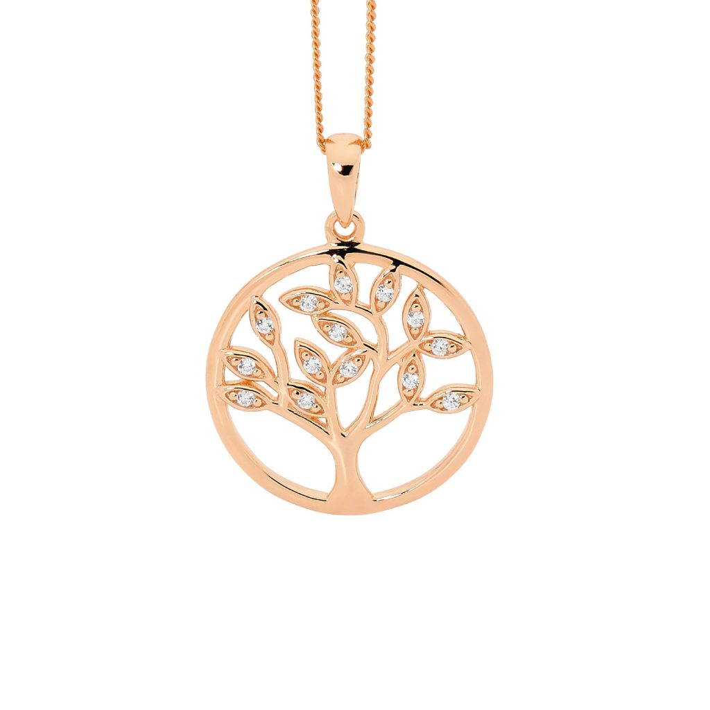 Sterling Silver Rose Gold Plated Tree Of Life Pendant with Cubic Zirconia