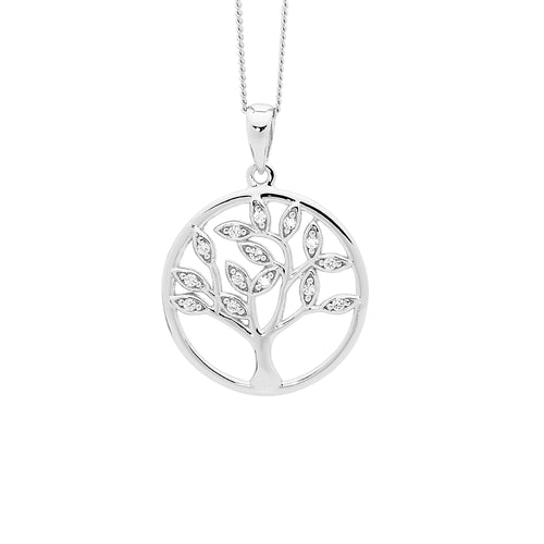 Sterling Silver Tree Of Life Pendant with Cubic Zirconia