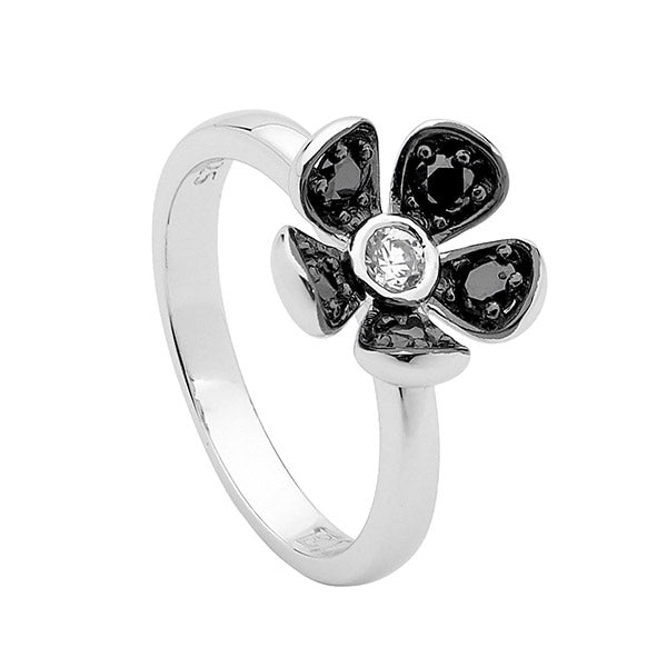 Sterling Silver Flower Ring with Black Cubic Zirconia
