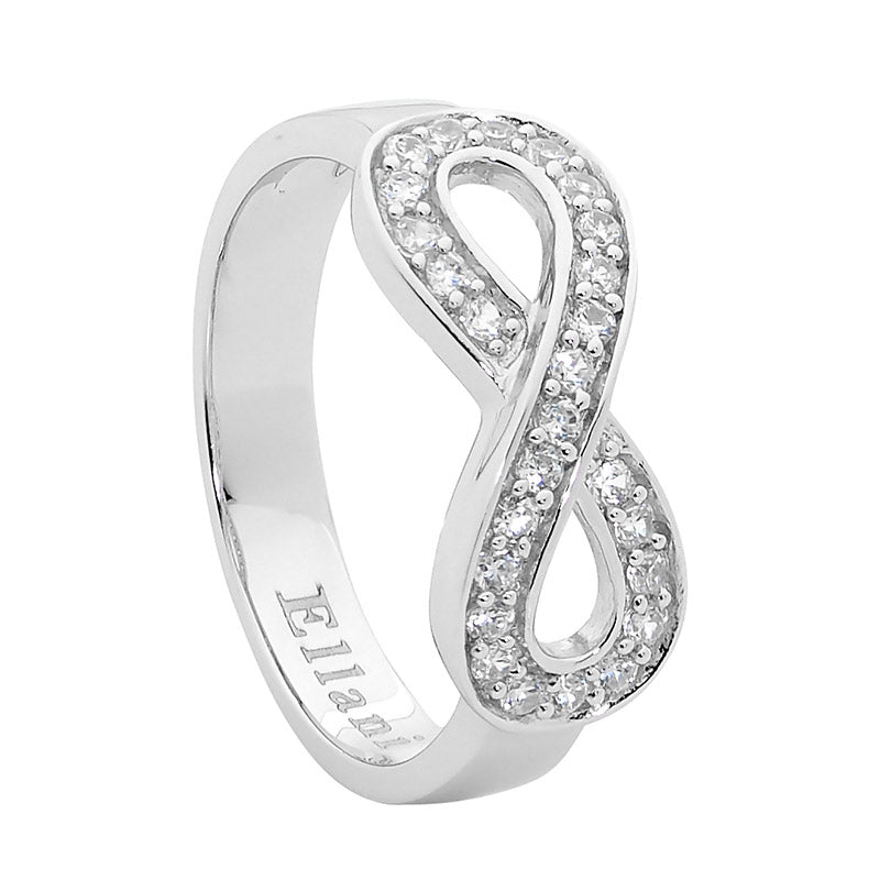 Sterling Silver Infinity Ring with Cubic Zirconias