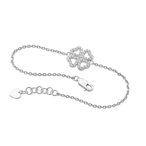 Sterling Silver Four Leaf Clover Bracelet with Cubic Zirconia