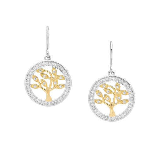 Sterling Silver Tree Of Life Earrings With Gold Accent & Cubic Zirconia