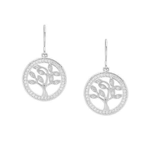 Sterling Silver Tree Of Life Earrings with Cubic Zirconia