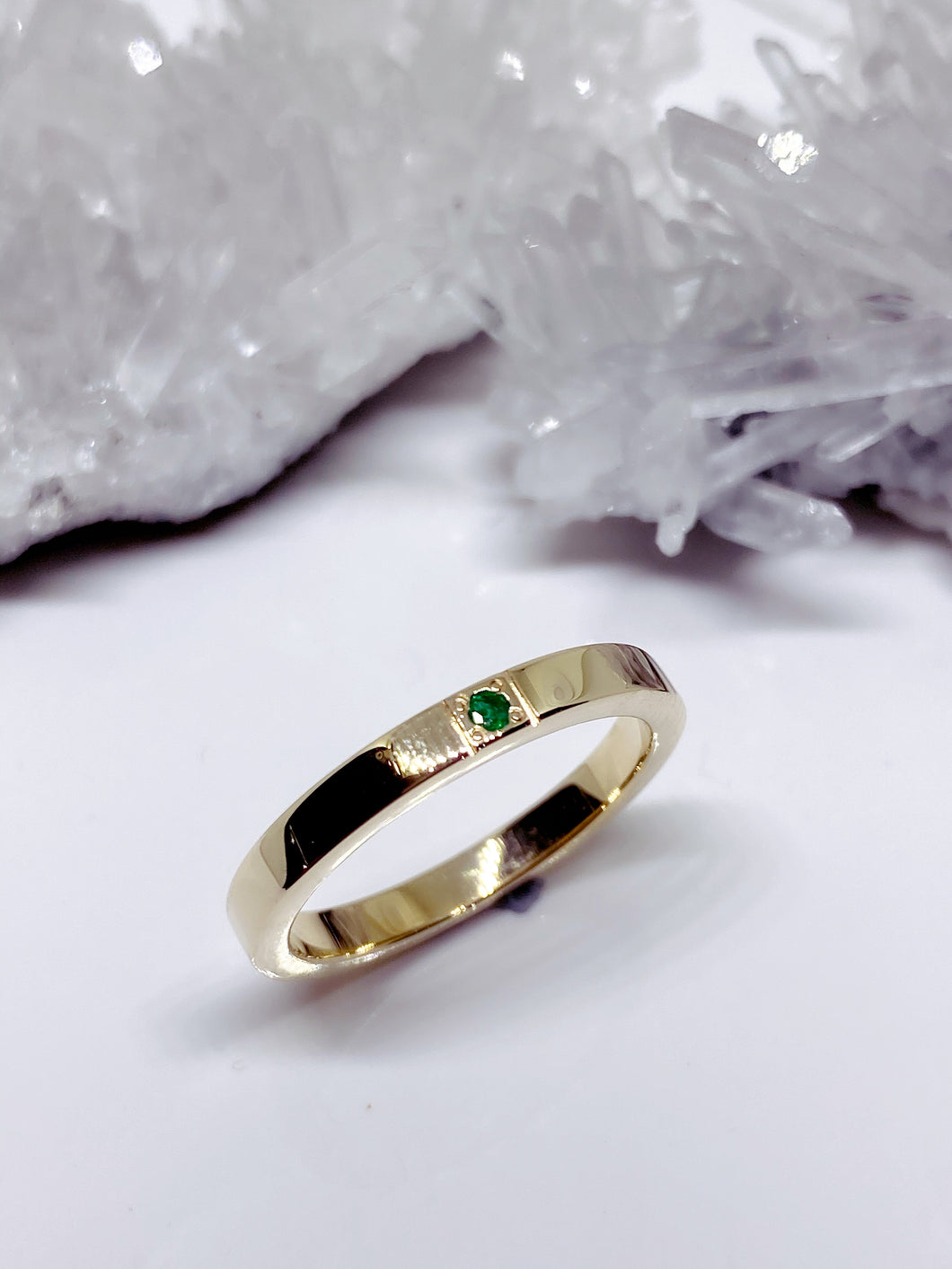 Colombian Emerald Stacker Ring in 9ct Yellow Gold