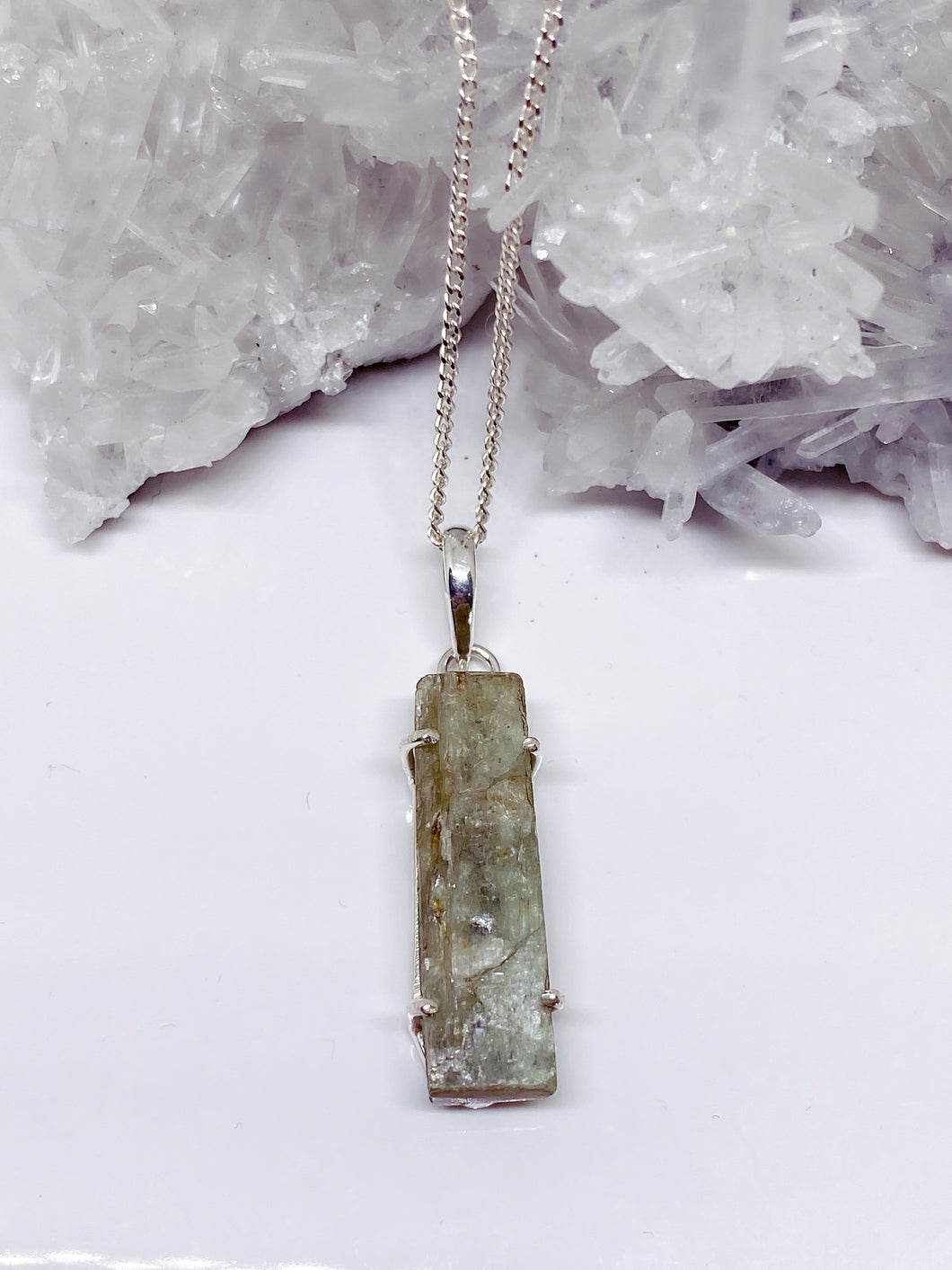 Rough Green Kyanite Pendant - Sterling Silver with Chain