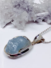 Rough Aquamarine Pendant - Sterling Silver with Chain