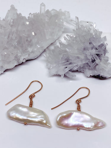 Keshi Pearl Earrings - 9ct Rose Gold