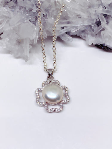 Freshwater Pearl & Cubic Zirconia Pendant - Sterling Silver with Chain