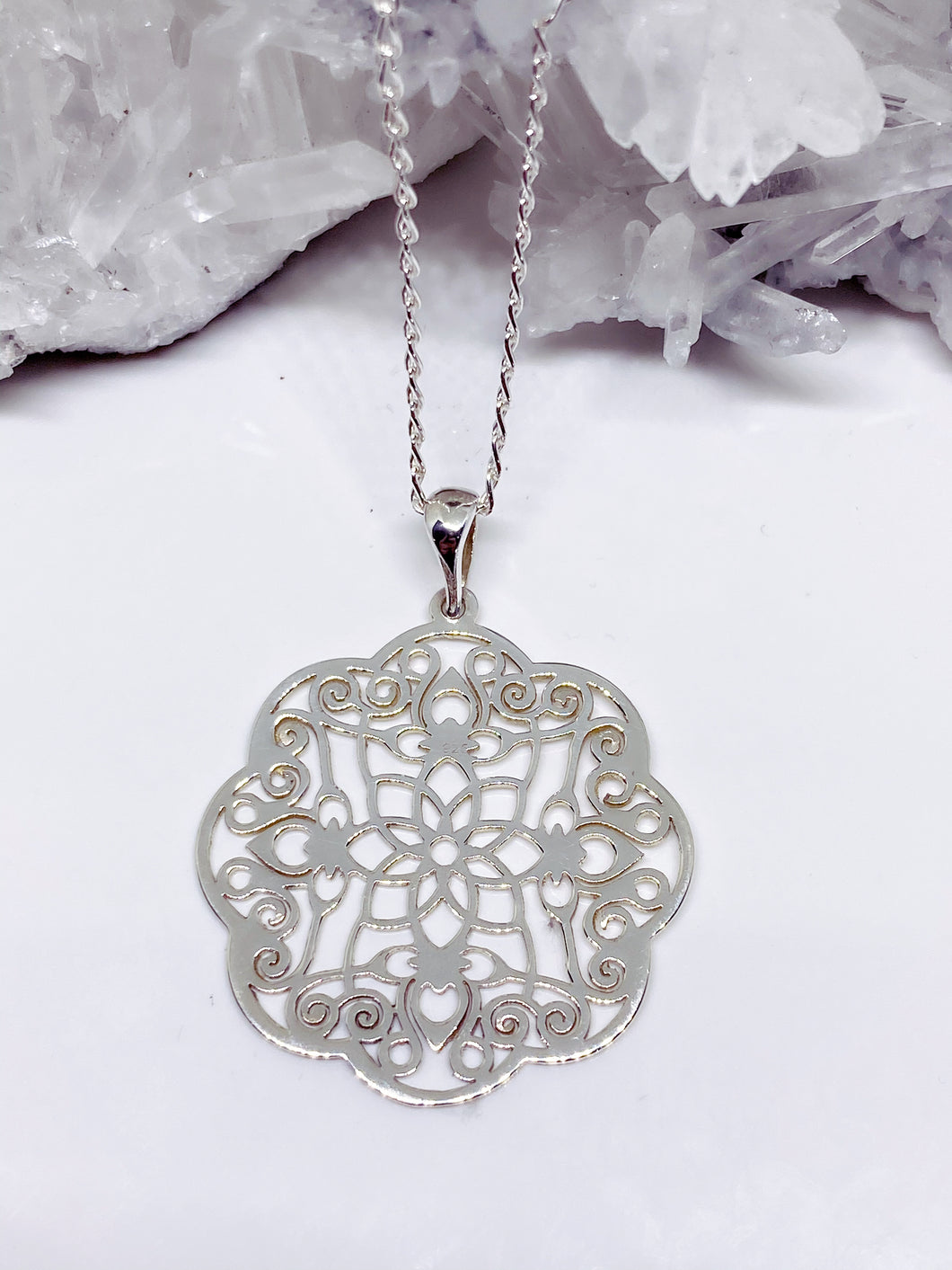 Sterling Silver Mandala Pendant with Chain