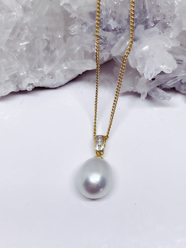 Freshwater Pearl & Diamond Pendant - 18ct Gold
