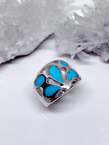 Natural Turquoise Ring - Sterling Silver