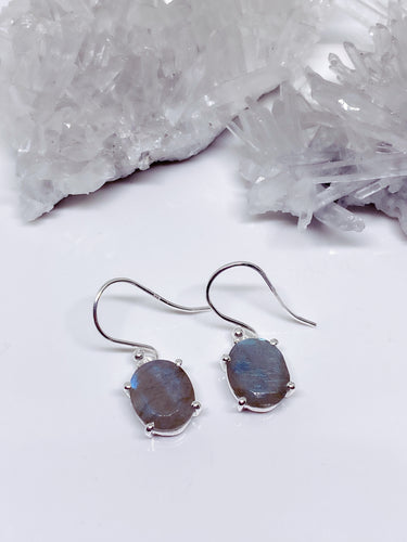 Labradorite Earrings - Sterling Silver