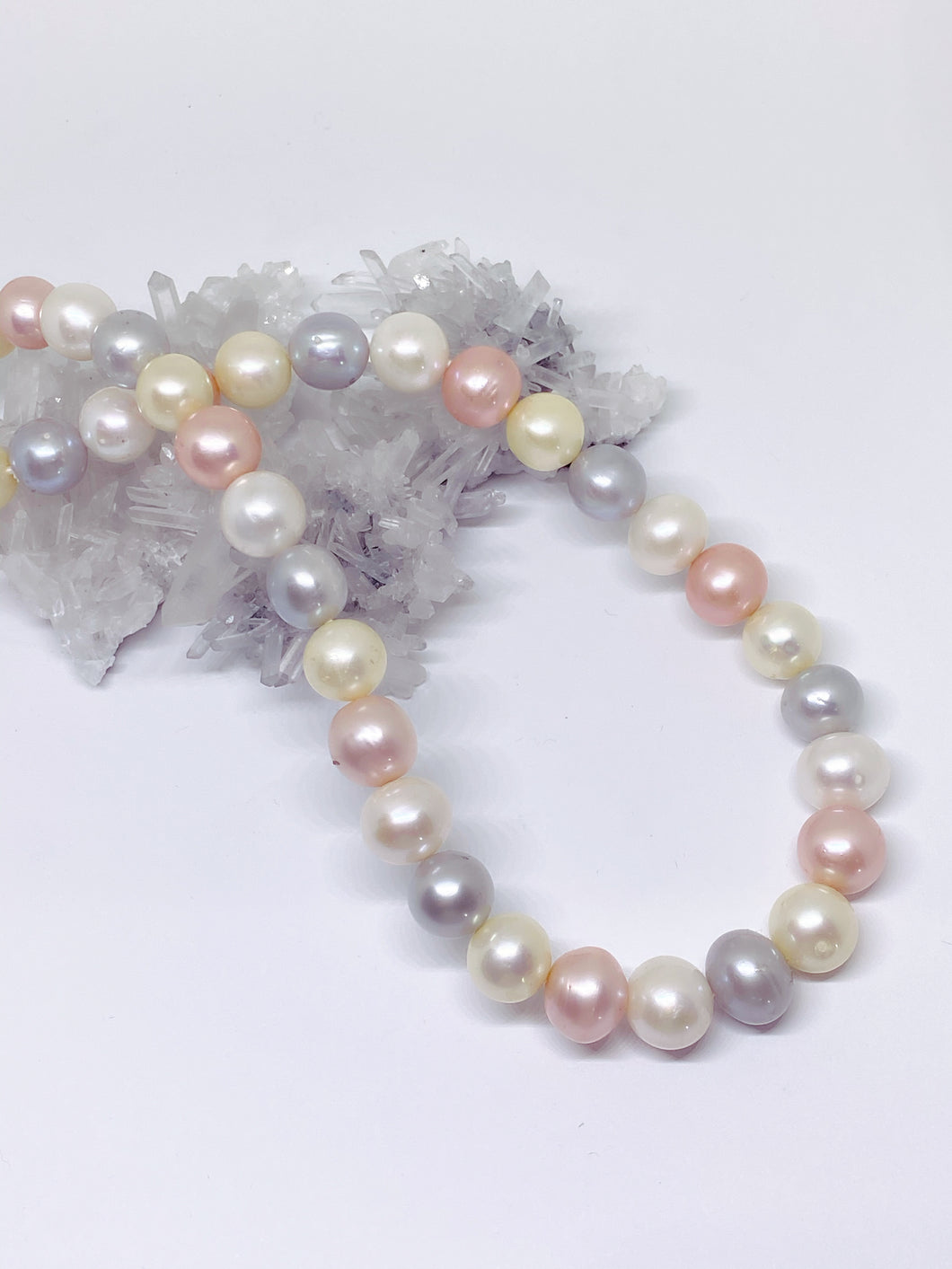 Large Multicolour Freshwater Pearl Strand - Sterling Silver Magnetic Clasp