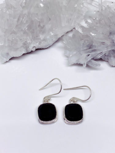Black Onyx Earrings - Sterling Silver