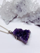 Amethyst Cluster Pendant - Sterling Silver with Chain