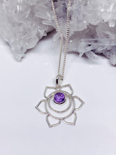 Amethyst Pendant - Sterling Silver with Chain