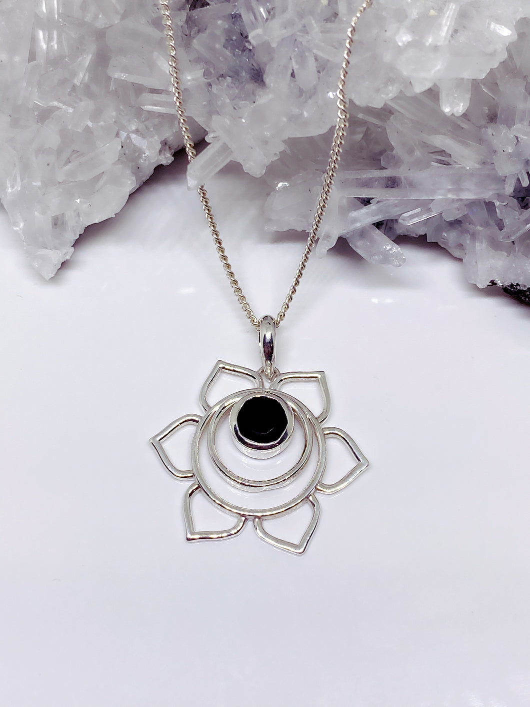 Black Onyx Pendant - Sterling Silver with Chain