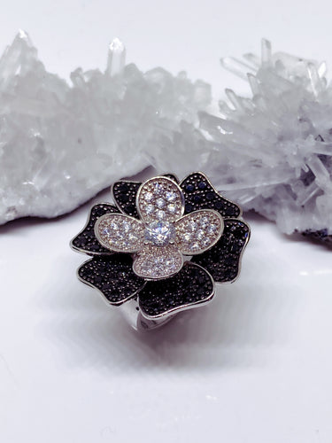 Sterling Silver Flower Ring with Black & White Cubic Zirconia