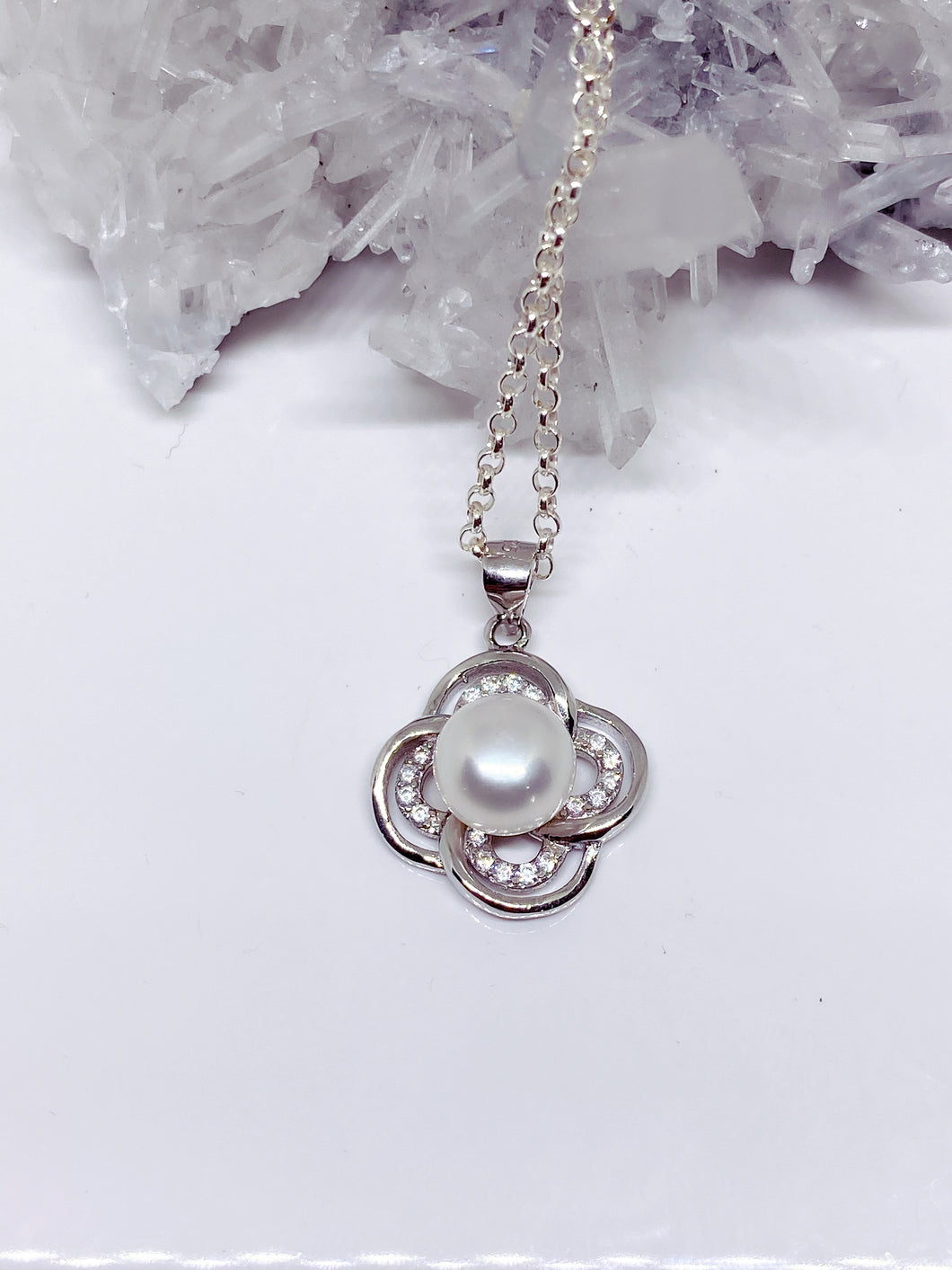 Freshwater Button Pearl & Cubic Zirconia Pendant - Sterling Silver with Chain