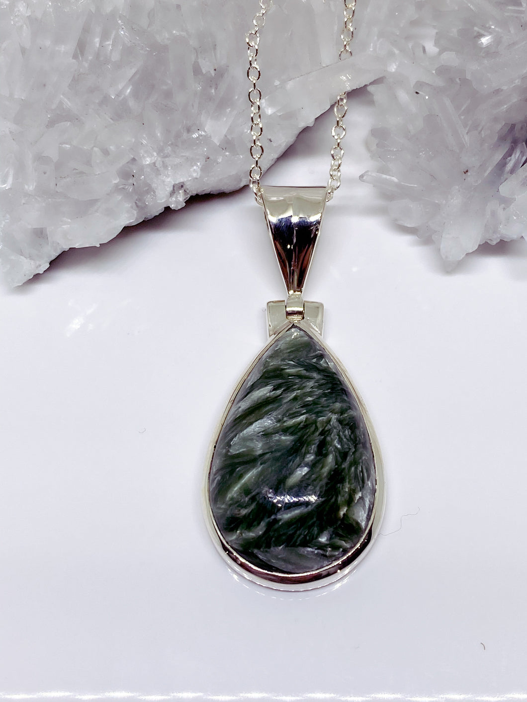 Seraphinite Pendant - Sterling Silver with Chain