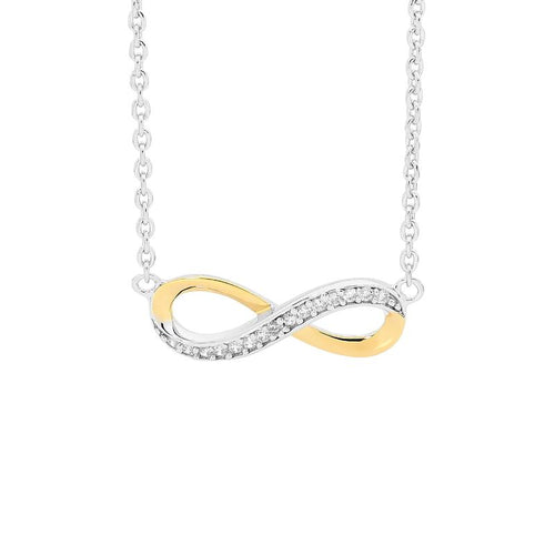 Sterling Silver Infinity Necklace with Yellow Gold Accent & Cubic Zirconia