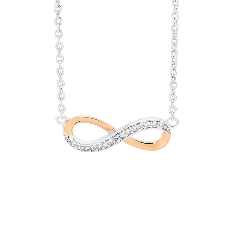 Sterling Silver Infinity Necklace with Rose Gold Accent & Cubic Zirconia