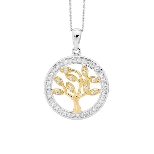 Sterling Silver Tree Of Life Pendant with Gold Accent & Cubic Zirconia