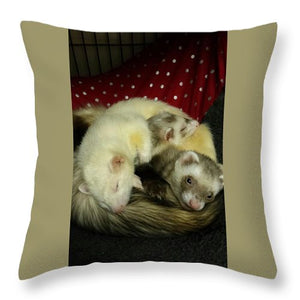 Ferret Pile - Throw Pillow