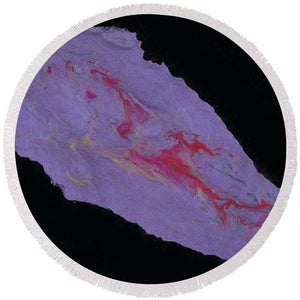 Negative Purple - Round Beach Towel