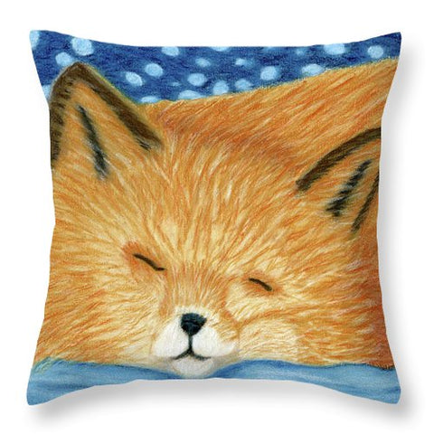 Sleepy Fox - Throw Pillow
