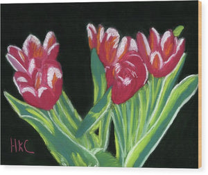 Tulips In High Contrast - Wood Print