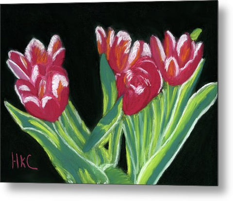 Tulips In High Contrast - Metal Print