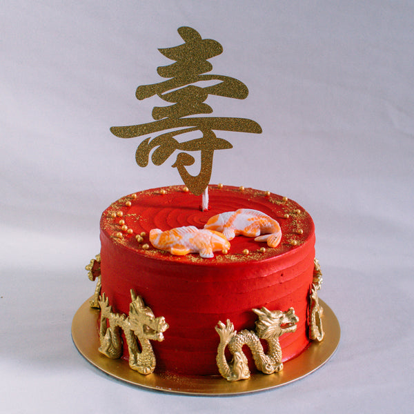 Auspicious Longevity Cake - Custom Bakes by Edith Patisserie