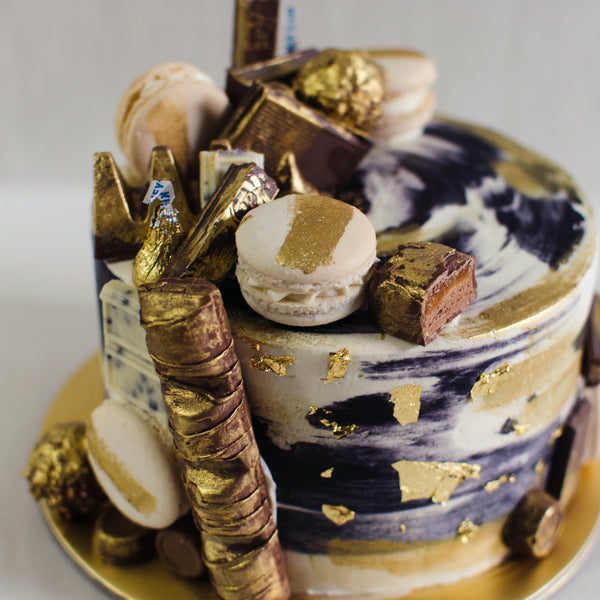 Marbled Gold Chocolate Candy Cake - Custom Bakes by Edith Patisserie
