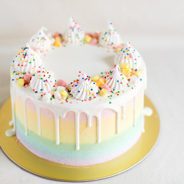 Pastel Rainbow with White Chocolate Drizzle and Meringue Decor - Custom Bakes by Edith Patisserie