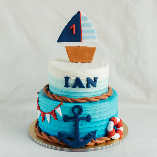 Two-Tier Nautical Cake - Custom Bakes by Edith Patisserie